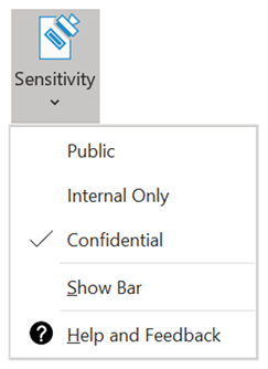 Sensitivity Button in the Microsoft Office ribbon